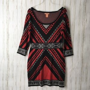 flying tomato Red Blk Aztec Bodycon Sweater Dress
